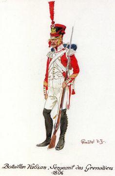 Swiss; Battalion Valaisan, Grenadier Sergeant 1806. Note the distinctive white epaulettes worn by grenadiers in Swiss regiments.
