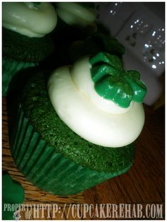 Saint Patrick's Day green velvet cupcakes with cream cheese frosting & green chocolate shamrocks!