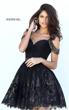 Off the Shoulder Sherri Hill 50503 Black Homecoming Dress
