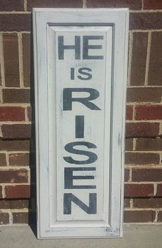 Hand painted sign  HE IS RISEN 34 x 13.5 by BlessedHomeDecor