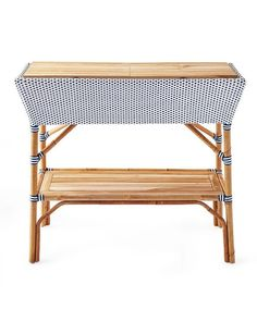 Blue and White Woven Wooden Bar