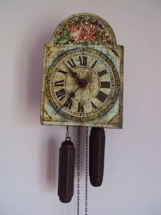 Antique-small-rare-wall-clock-with-painted-dial-Germany-ca-1800