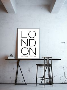 Minimalistisches Typo-Poster für London Liebhaber, Plakat, Wanddekoration / minimalistic art print for london lovers made by goodgirrrl via DaWanda.com