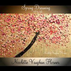 "Original Oil   gallery canvas abstract  Landscape Modern 36"" palette knife  Cherry Blossom impasto oil painting by Nicolette Vaughan Horner via Etsy"