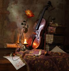 Still life with violin and rose by Andrey Morozov on 500px