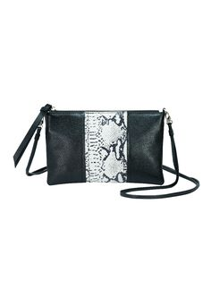 051f1d77ec1f Convertible colorblock crossbody clutch in pebble leather.  Magnetic-fastening slit pocket in rear.