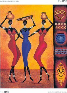 """Láminas para decoupage"" African Theme, African Girl, African American Art, African Beauty, African Women, Wal Art, African Art Paintings, Caribbean Art, Orange Art"