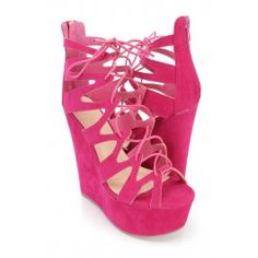 Fuchsia Strappy Lace Up Platform Wedges Faux Suede