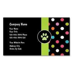 Pet care business cards with paw print and great text layout you can customize now! Perfect for any business card theme related to dogs, cats, pets, pet health, or veterinarian.
