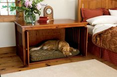 Pine bedside table doubles as a cozy alcove for your dog's bed. Table no longer available at Orvis.com but it's a great idea.
