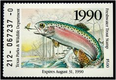 Texas Trout Stamp 1990