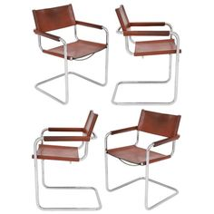 Four Marcel Breuer Cognac Leather Armchairs #chrome #chairs #french