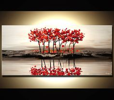 ORIGINAL Abstract Contemporary Red Blossom Acrylic by OsnatFineArt, $400.00