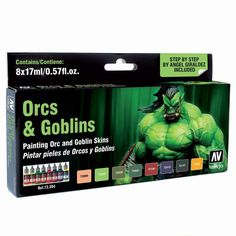 Vallejo Orcs And Goblins Paint Set, (8 Game Colors And Guide)