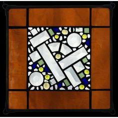 Edel Byrne Amber Antique Border Geometric Stained Glass Panel, Artistic Artisan Designer Window Panels