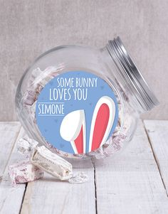 Personalised Some Bunny Loves You Candy Jar Pink Happy Birthday, Happy Birthday Candles, Happy Birthday Balloons, Lucky To Have You, Owl Always Love You, Lindt Truffles, Glass Candy Jars, Some Bunny Loves You, Cute Candy