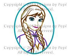 Frozen anna Princess Cameo Applique Machine Embroidery Design