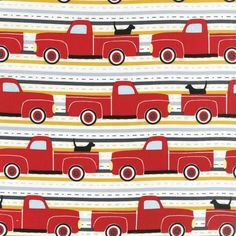 Pooches and Pickups Black Lab Dog Red Vintage Truck On The Striped Road Fabric