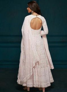 Light Pink Thread Embroidered Anarkali - - Light Pink Thread Embroidered Anarkali – Lashkaraa Source by Lekhaa Indian Gowns, Indian Attire, Indian Ethnic Wear, Kurtis Indian, Salwar Designs, Kurti Designs Party Wear, Designer Anarkali Dresses, Designer Dresses, Ethnic Outfits