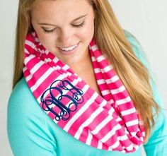 Monogrammed Stripe Scarves ~ Inifinity Scarf ~ Mongrammed Winter Scarf ~ Bridesmaid Gifts