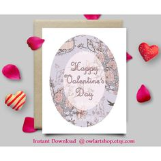 Happy Valentine's Day card, Floral vintage pink card, printable... ($4.90) ❤ liked on Polyvore featuring home, home decor and stationery