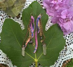 Love Charm Raw Crystal Gypsy Earrings with Rainbow Ribbon, Handmade, OOAK by SaracenProvisions on Etsy
