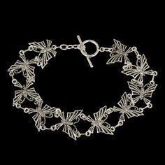 pulseira folheada borboleta prata