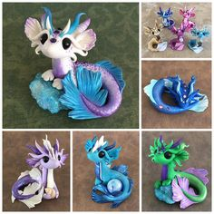 Mer-dragons by Dragons and Beasties! Polymer Clay Dragon, Sculpey Clay, Polymer Clay Figures, Cute Polymer Clay, Polymer Clay Animals, Cute Clay, Polymer Clay Charms, Clay Art Projects, Polymer Clay Projects