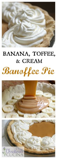 With a pre-baked crust, just layer bananas, add the caramel sauce and top with whipped cream. With a pre-baked crust, just layer bananas, add the caramel sauce and top with whipped cream. Easy Desserts, Delicious Desserts, Dessert Recipes, Yummy Food, Awesome Desserts, Vegan Banoffee Pie, British Desserts, British Recipes, British Dishes