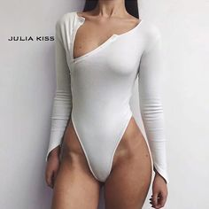 Limited Price for Women Oblique Button Ribbed Bodysuit If You will buy for Bodysuits, then Women Oblique Button Ribbed Bodysuit is possible. Bikini Outfits, Sexy Outfits, Fashion Outfits, Women's Summer Fashion, Girl Fashion, Fit Women, Sexy Women, Ribbed Bodysuit, Cute Swimsuits