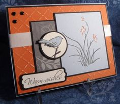 hand crafted card ...  Asian Artistry Double Dare by chanteuse  ... grays with orange ... like the lightly sanded texture on the Coordinations paper background ...