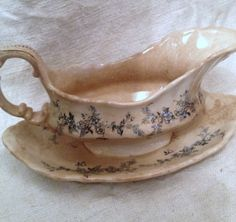 Beautiful patina and crazing....vintage French ironstone transfer ware.  FleaingFrance Brocante