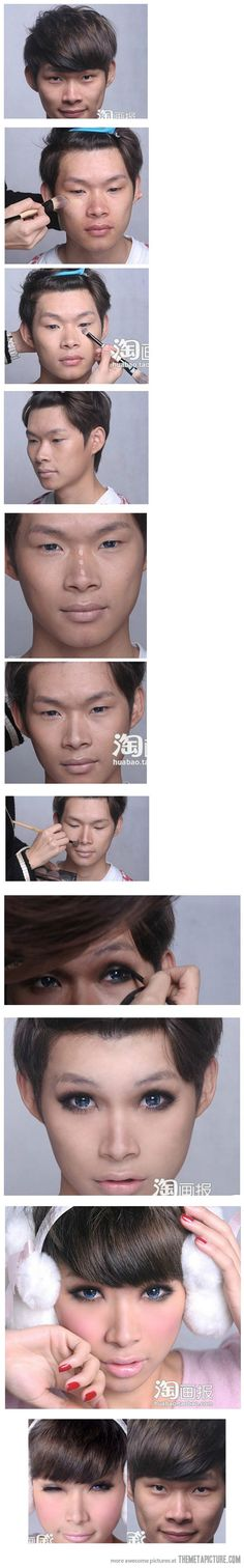 """The amazing power of make-up    Things that make you go """"Hmmmm...""""  Would this qualify for """"hiding in plain sight""""???"""