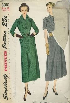 An original ca. 1950's Simplicity Pattern 3010.  Soft pleats at the front and back waistline and gathers at the front shoulder release easy fullness in the bodice.  A shaped yoke, styled with a four-button closing, is top-stitched to the bodice front and finished with a convertible collar.  Darts at the back waistline fit the slim skirt and a self or purchased belt encircles the waistline.  Style 1 has three-quarter sleeves finished with a pleat at the lower edge.