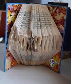 Folded Book Art - Autumn - Book Sculpture - Unique - Christmas - Birthday - Fall Leaves - Book Folding - Love - Name - Unique - OOAK by TodaysCreations1 on Etsy