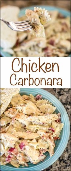 Chicken Carbonara recipe with Bacon, chicken and cheesy pasta perfection! An eas… Chicken Carbonara recipe with Bacon, chicken and cheesy pasta perfection! An easy way to create a gourmet chicken dinner the entire family will enjoy! Healthy Pasta Recipes, Bacon Recipes, Casserole Recipes, Chicken Recipes, Cooking Recipes, Recipe Chicken, Cooking Tips, Chicken Salad, Casserole Dishes
