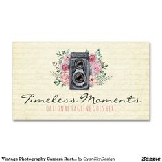 Shop Vintage Photography Camera Rustic Photographer Business Card created by CyanSkyDesign. Rustic Photography, Floral Photography, Photography Camera, Photography Business, Portrait Photography, Feminine Tattoo Sleeves, Feminine Tattoos, Vintage Business Cards, Business Card Logo