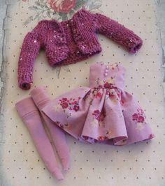 OOAK Blyt Lavendel magentafarbenen Kleid Magenta Cardigan Sweater winzigen…