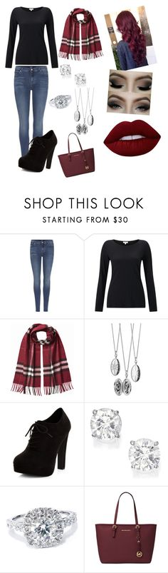 """Untitled #172"" by amandamccormick12 ❤ liked on Polyvore featuring 7 For All Mankind, Jigsaw, Burberry, Monica Rich Kosann, New Look, Bliss Diamond, Michael Kors, GURU and Lime Crime"