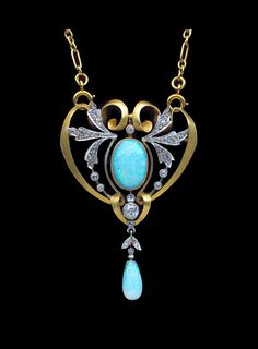 ART NOUVEAU.  Gold Opal Diamond Pendant. French, c.1900.