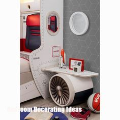 7f40a5653f3 Cilek First Class Airplane Twin Storage Bed with Headboard Storage and One  Airplane Motor and Wings