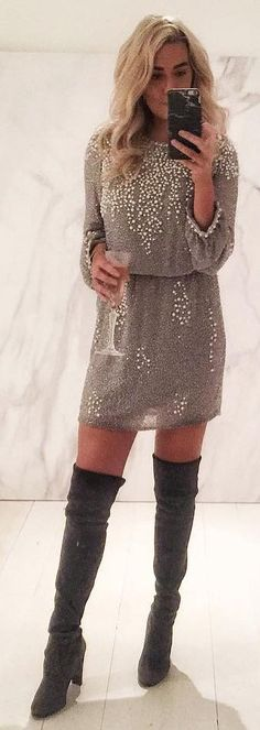 #winter #fashion / Grey Embellished Dress / Black OTK Boots