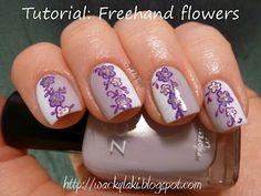 Tutorial: Two toned manicure with intermediate level freehand flowers. Nail Art. Nails. Pinned by www.SimpleNailArtTips.com