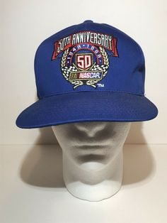 f2f64c4b28c Vintage NASCAR 50th Anniversary 1948-1998 Snapback Hat Blue Racing  Adjustable