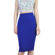 Ladies Glamorous Royal Blue Zip Back Below The Knee Pencil Skirt. Available at Pink Cadillac Boutique www.pinkcadillac.co.uk