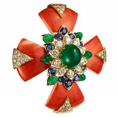 Heraldic Maltese Cross Coral Brooch, 1964 David Webb Cabochon green onyx, circular-cut diamond, sapphire, gold
