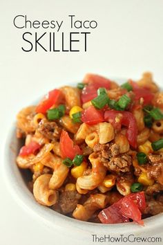 cheesy taco skillet on thehowtocrew more skillet delicious taco ...
