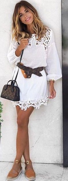 #summer #flawless #outfitideas   White Lace Dress