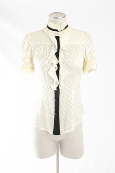Diane Von Furstenberg 'Kailey' Silk Blend Blouse with Ruffle Trimmed Collar and Contrast Button Placket - $47