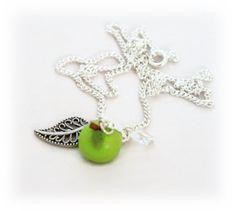 Green Apple Necklace Apple Necklace Charm by Lottieoflondon